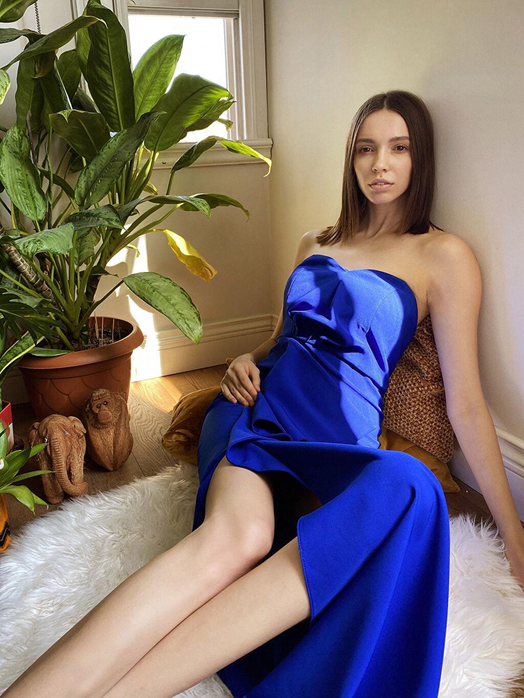 0SAA01Z8 Appleline Fırfır Detaylı Straplez Abiye Elbise