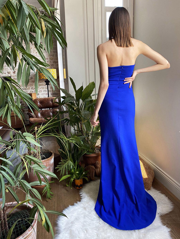 LC Waikiki Mavi Appleline Fırfır Detaylı Straplez Abiye Elbise