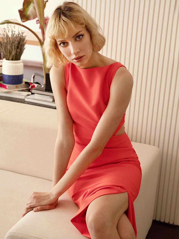 Kırmızı Appleline Bel Detaylı Esnek Abiye Elbise 0SAA74Z8 LC Waikiki