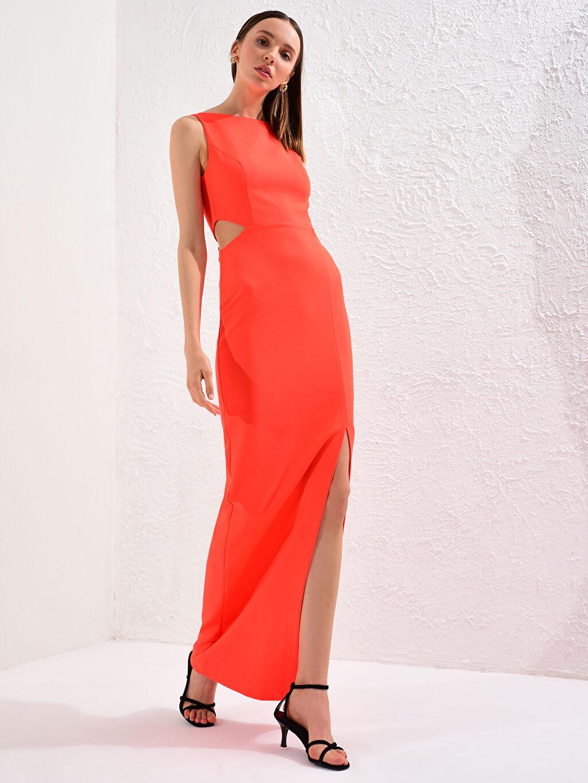 LC Waikiki Kırmızı Appleline Bel Detaylı Esnek Abiye Elbise