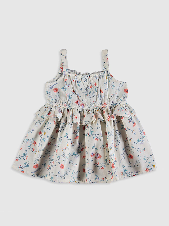 %100 Pamuk Standart Baskılı Günlük Elbise Poplin Kız Bebek Baskılı Pamuklu Elbise
