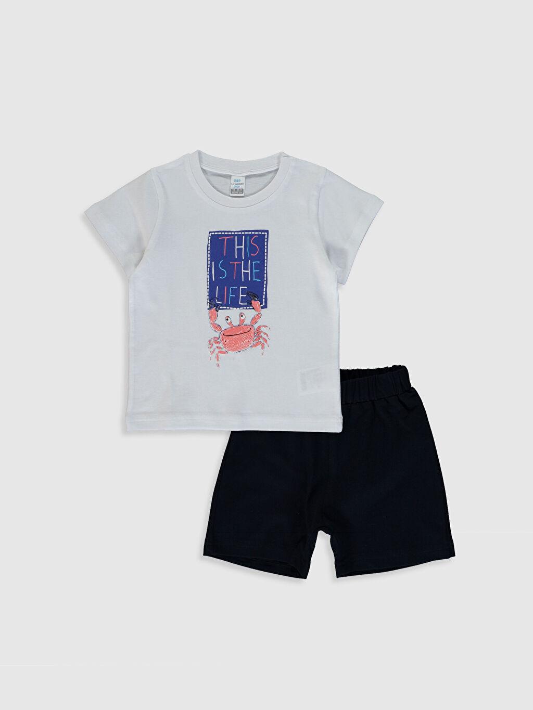 Beyaz Erkek Bebek Baskılı Tişört ve Şort 0SAB79Z1 LC Waikiki