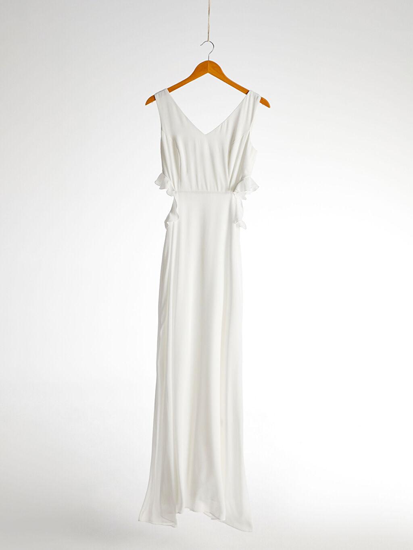 %100 Polyester Appleline Fırfırlı Bel Detaylı Şifon Abiye Elbise
