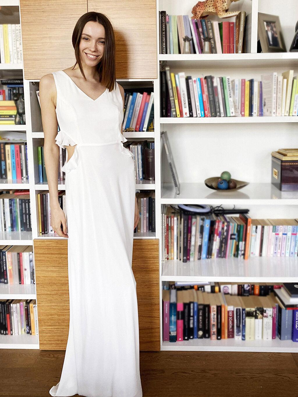 Beyaz Appleline Fırfırlı Bel Detaylı Şifon Abiye Elbise 0SAD11Z8 LC Waikiki