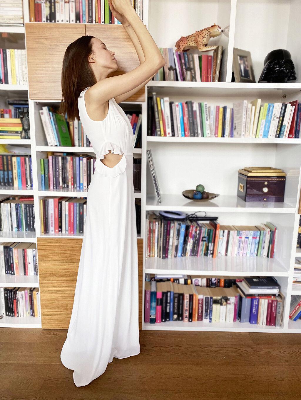 %100 Polyester %100 Polyester Orta Kalınlık Kısa Kol Abiye Düz Elbise Appleline Fırfırlı Bel Detaylı Şifon Abiye Elbise