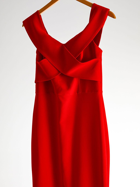 Kırmızı Appleline Kruvaze Yaka Detaylı Abiye Elbise