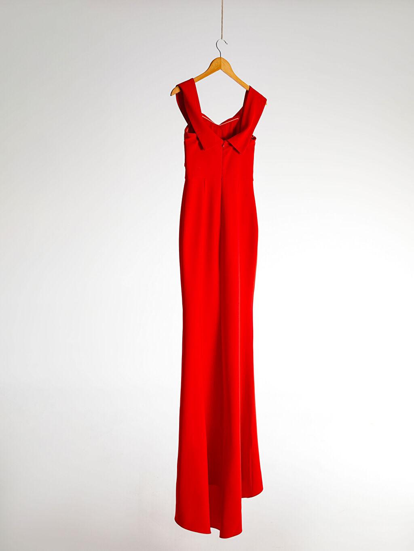 0SAD22Z8 Appleline Kruvaze Yaka Detaylı Abiye Elbise