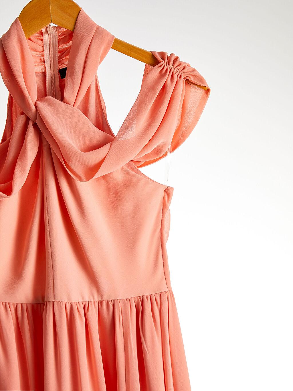 %100 Polyester Appleline Yakası Tül Detaylı Şifon Abiye Elbise