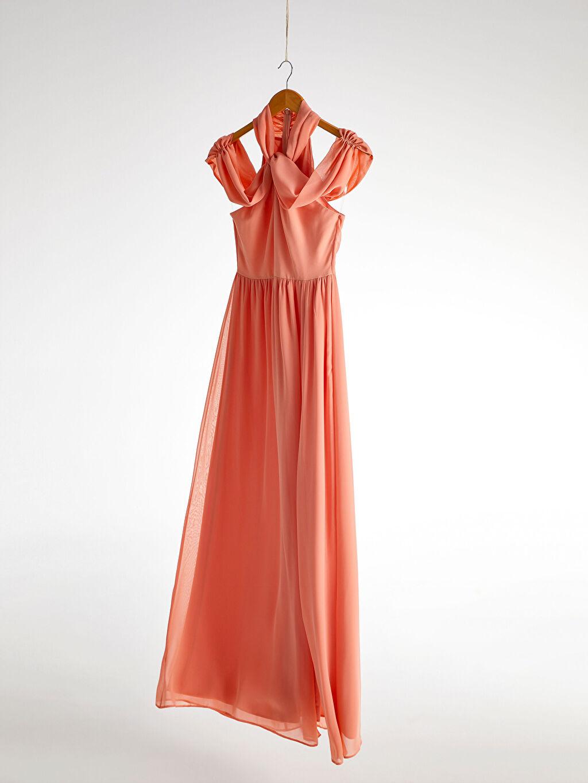 0SAD24Z8 Appleline Yakası Tül Detaylı Şifon Abiye Elbise