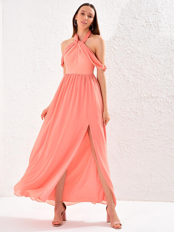 %100 Polyester %100 Polyester Orta Kalınlık Kolsuz Abiye Düz Elbise Appleline Yakası Tül Detaylı Şifon Abiye Elbise