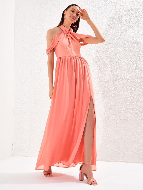 Kadın Appleline Yakası Tül Detaylı Şifon Abiye Elbise