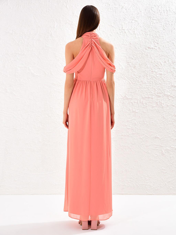 Pembe Appleline Yakası Tül Detaylı Şifon Abiye Elbise