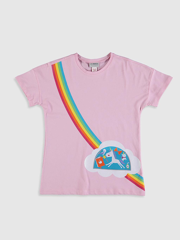 Pembe Kız Çocuk Baskılı Pamuklu Tişört 0SAE61Z4 LC Waikiki