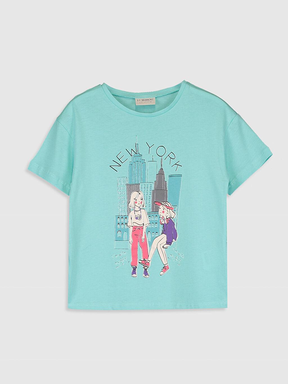 Turkuaz Kız Çocuk Baskılı Pamuklu Tişört 0SAG93Z4 LC Waikiki