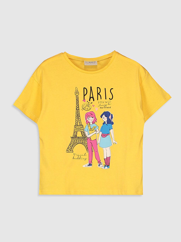 Sarı Kız Çocuk Baskılı Pamuklu Tişört 0SAG93Z4 LC Waikiki