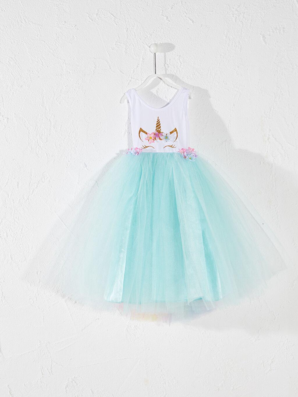 Mavi Tameris Kız Çocuk Baskılı Kostüm 0SAH08Z4 LC Waikiki