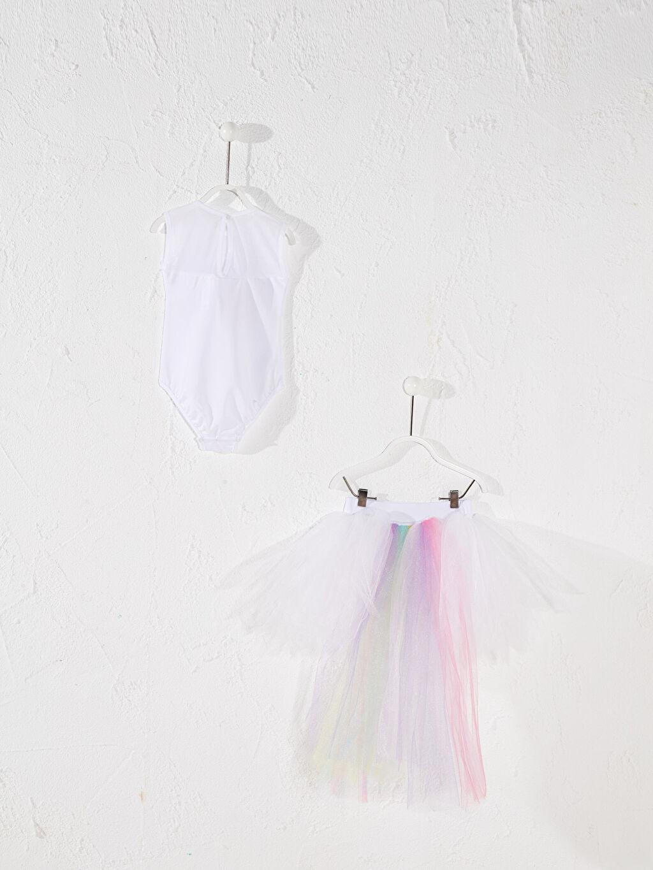 Baskılı Elbise Diz Üstü Tameris Kız Çocuk Unicorn Baskılı Kostüm