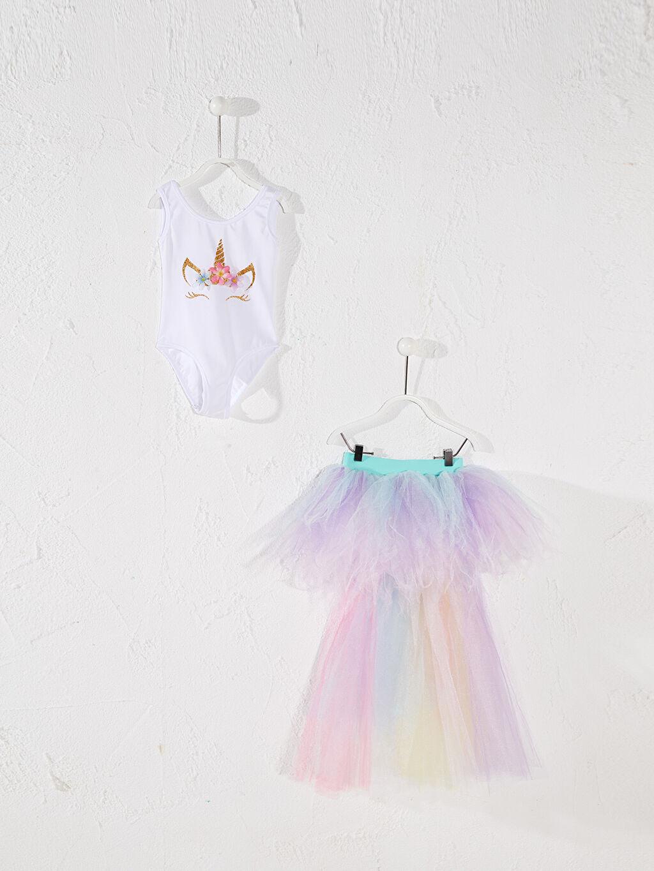 Beyaz Tameris Kız Çocuk Unicorn Baskılı Kostüm 0SAH35Z4 LC Waikiki