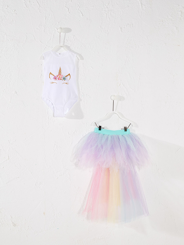 Beyaz Tameris Kız Çocuk Unicorn Baskılı Kostüm 0SAH36Z4 LC Waikiki