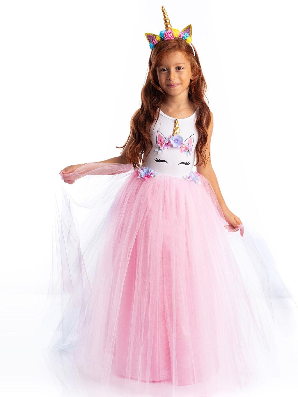 Baskılı Uzun Elbise Tameris Kız Çocuk Unicorn Baskılı Kostüm