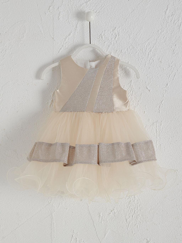 Kahverengi Daisy Girl Kız Bebek Desenli Abiye Elbise 0SAI90Z1 LC Waikiki