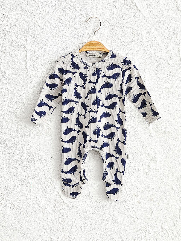 Gri Antebies Organik Pamuklu Erkek Bebek Baskılı Çıtçıtlı Body 0SAN82Z1 LC Waikiki