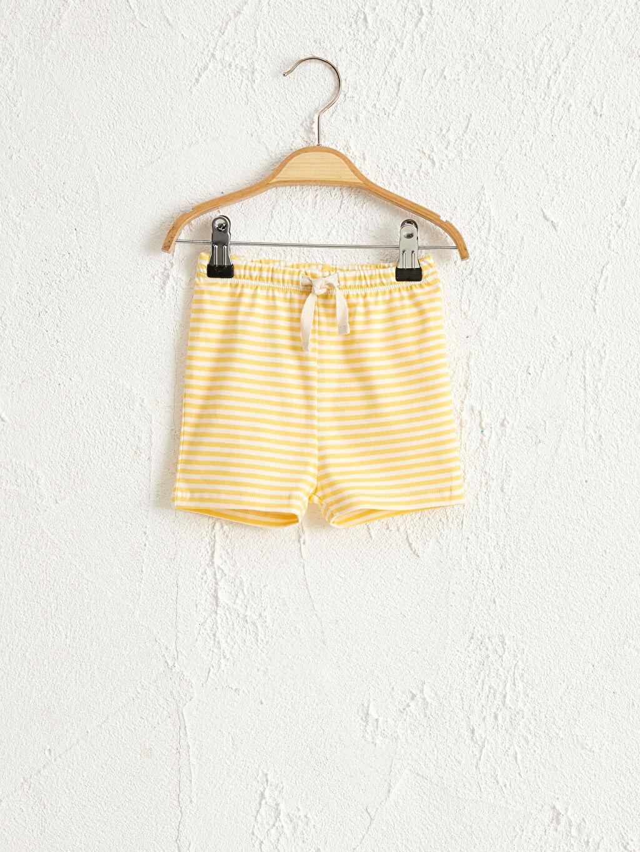 Sarı Antebies Organik Pamuklu Kız Bebek Şort 0SAO05Z1 LC Waikiki