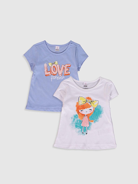 Beyaz Kız Bebek Baskılı Pamuklu Tişört 2'Li 0SAQ55Z1 LC Waikiki