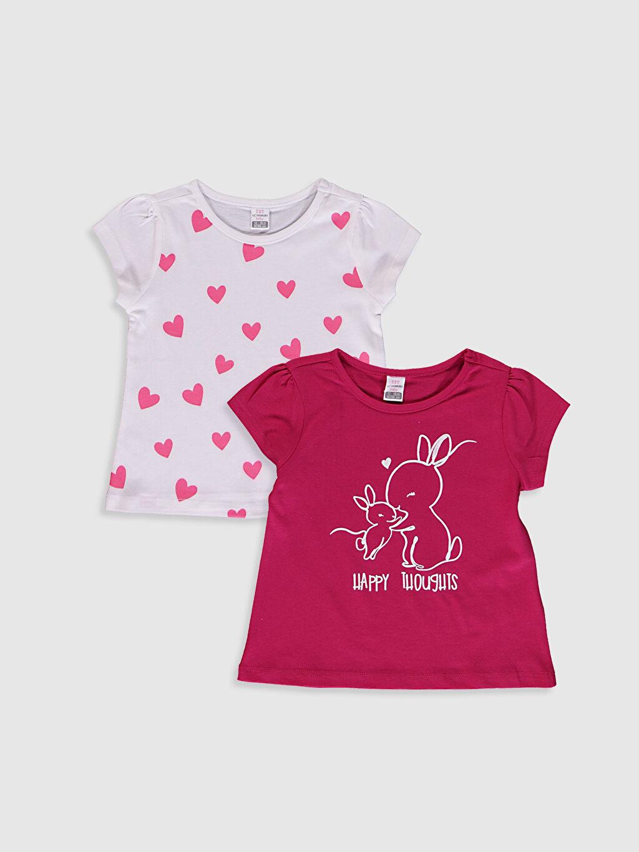 Fuşya Kız Bebek Pamuklu Baskılı Tişört 2'Li 0SAQ58Z1 LC Waikiki