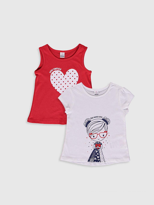Beyaz Kız Bebek Baskılı Tişört 2'Li 0SAQ61Z1 LC Waikiki
