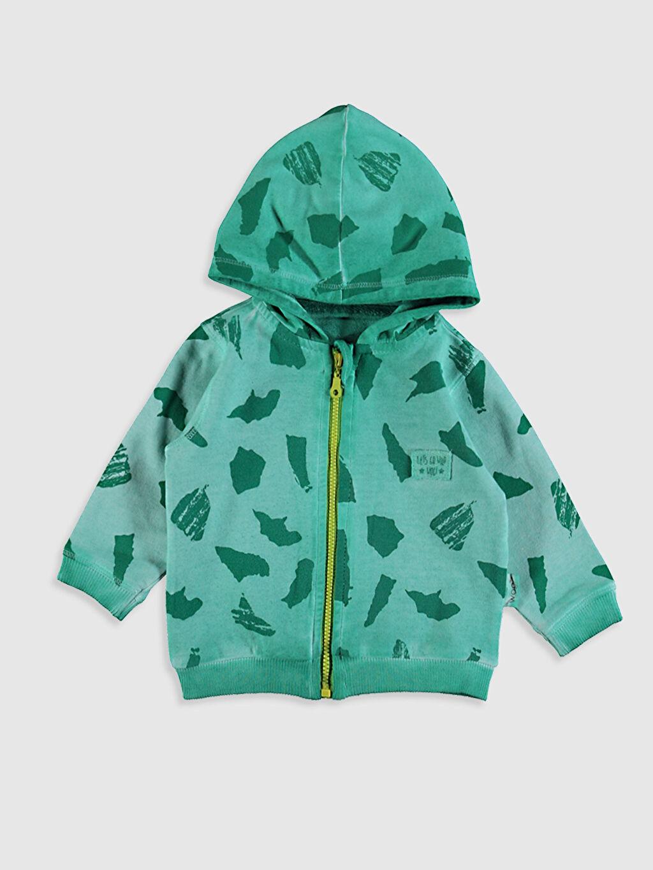 Yeşil Erkek Bebek Baskılı Fermuarlı Sweatshirt 0SAQ84Z1 LC Waikiki