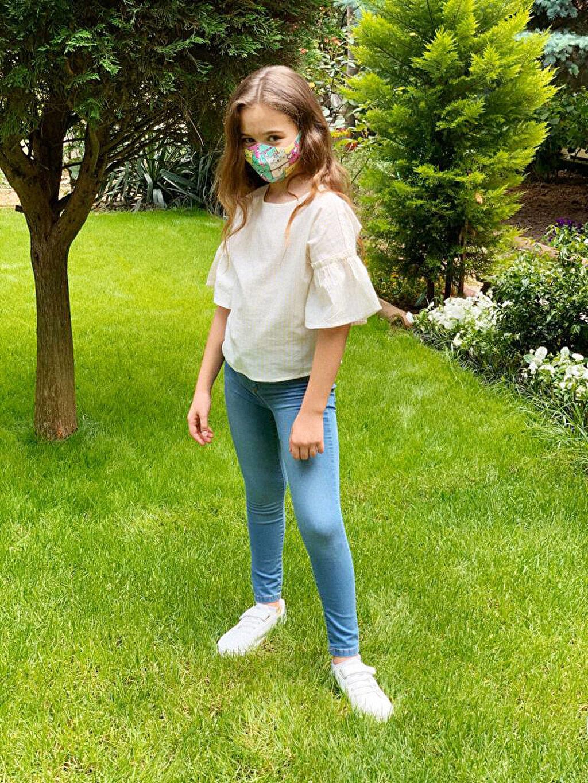 %91 Polyester %9 Elastan Maske 8-14 Yaş Kız Çocuk Yıkanabilir Yüz Maskesi 2'Li