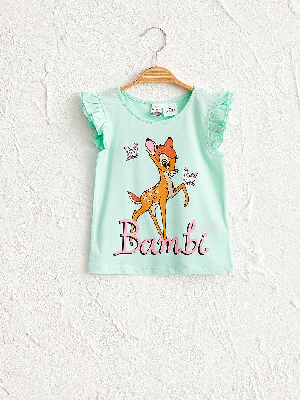 Turkuaz Kız Bebek Bambi Desenli Tişört 0SAV48Z1 LC Waikiki