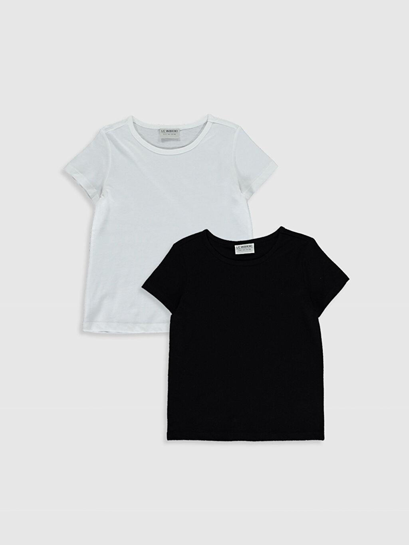 Siyah Kız Çocuk Pamuklu Basic Tişört 2'Li 0SBA44Z4 LC Waikiki