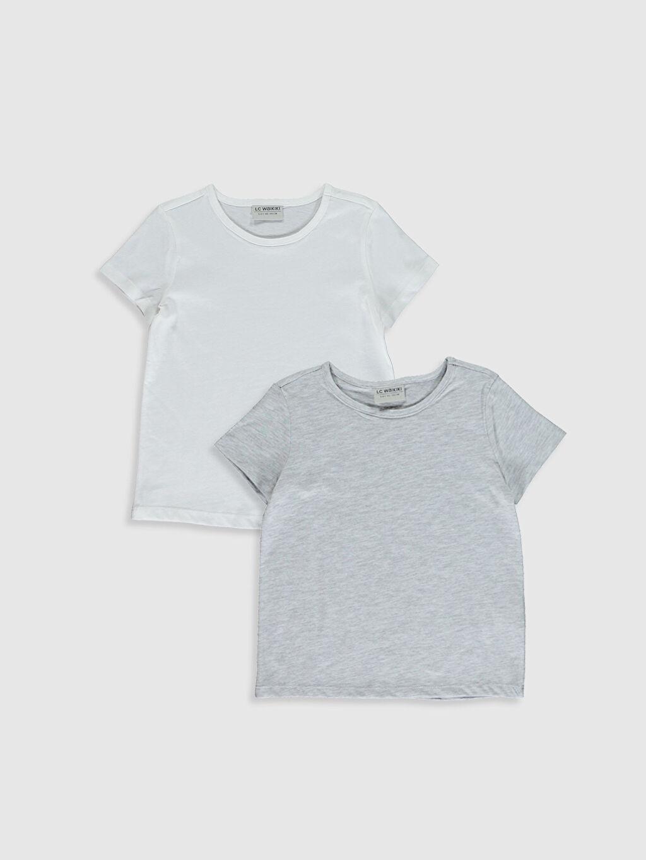 Gri Kız Çocuk Pamuklu Basic Tişört 2'Li 0SBA63Z4 LC Waikiki