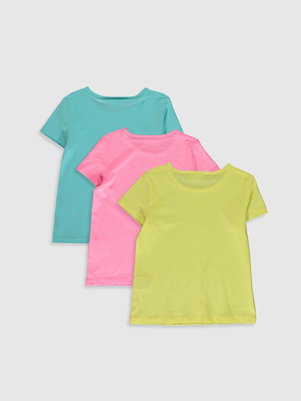 %52 Pamuk %48 Polyester Standart Tişört Bisiklet Yaka Kısa Kol Düz Süprem Kız Çocuk Pamuklu Basic Tişört 3'Lü