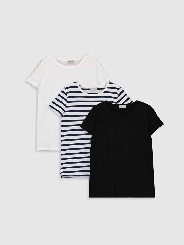 Siyah Kız Çocuk Pamuklu Tişört 3'Lü 0SBA68Z4 LC Waikiki