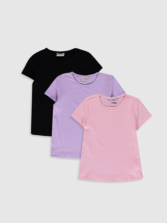 Pembe Kız Çocuk Pamuklu Basic Tişört 3'Lü 0SBA70Z4 LC Waikiki