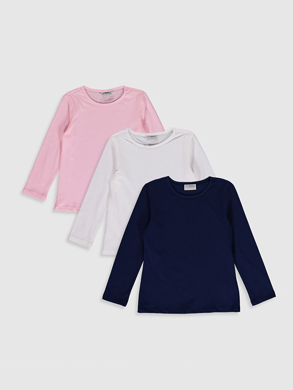 Ekru Kız Çocuk Pamuklu Basic Tişört 3'Lü 0SBB09Z4 LC Waikiki