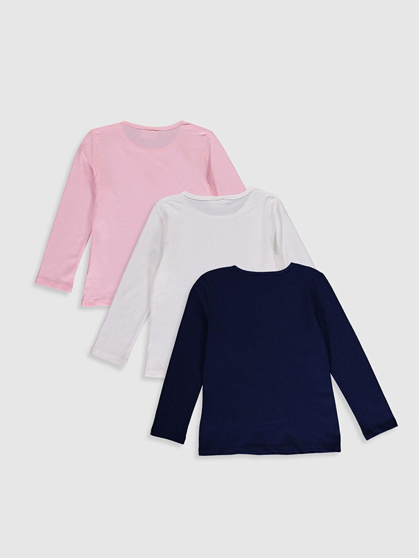 %100 Pamuk Düz Standart Uzun Kol Tişört Bisiklet Yaka Kız Çocuk Pamuklu Basic Tişört 3'Lü