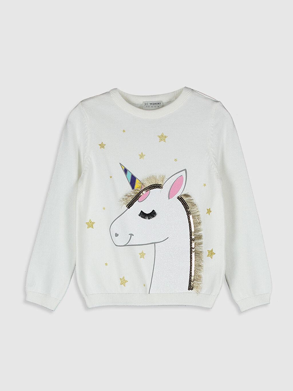 Ekru Kız Çocuk Unicorn Desenli İnce Triko Kazak 0W1684Z4 LC Waikiki