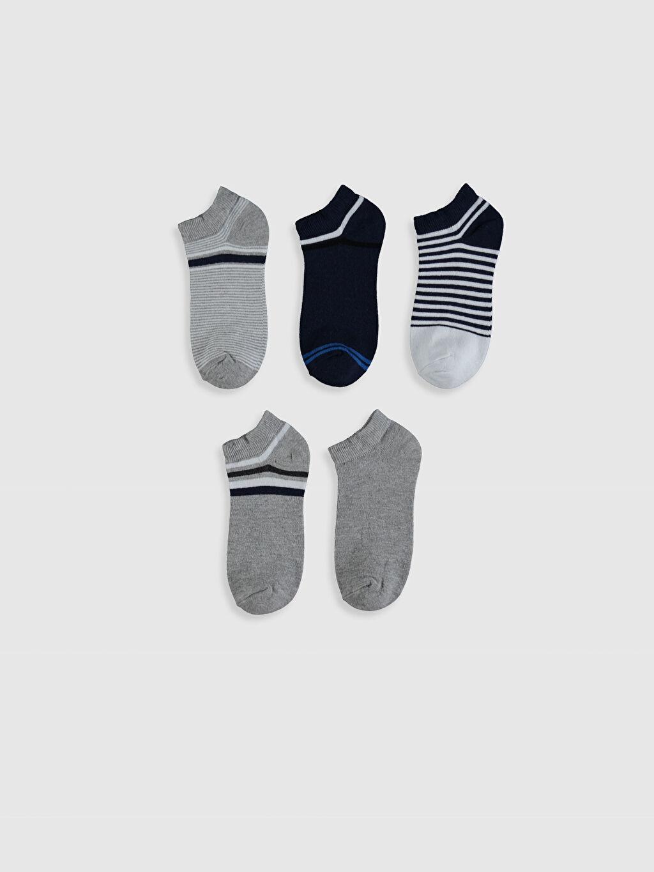 %58 Pamuk %26 Polyester %14 Poliamid %2 Elastan Patik Çorap Dikişli Çizgili Kız Çocuk Patik Çorap 5'li