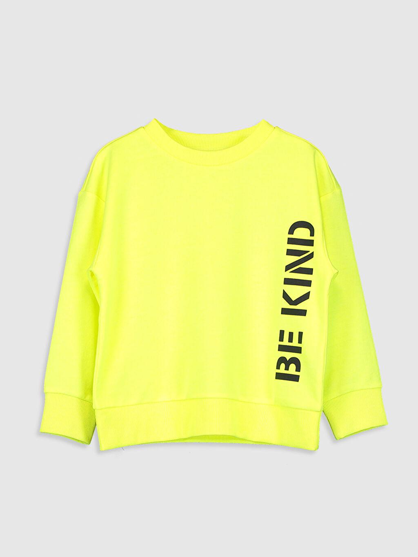 Sarı Kız Çocuk Yazı Baskılı Sweatshirt 0W2190Z4 LC Waikiki