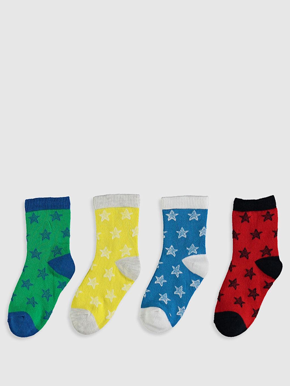 %72 Pamuk %7 Polyester %19 Poliamid %2 Elastan Soket Çorap Baskılı Orta Kalınlık Erkek Bebek Soket Çorap 4'Lü