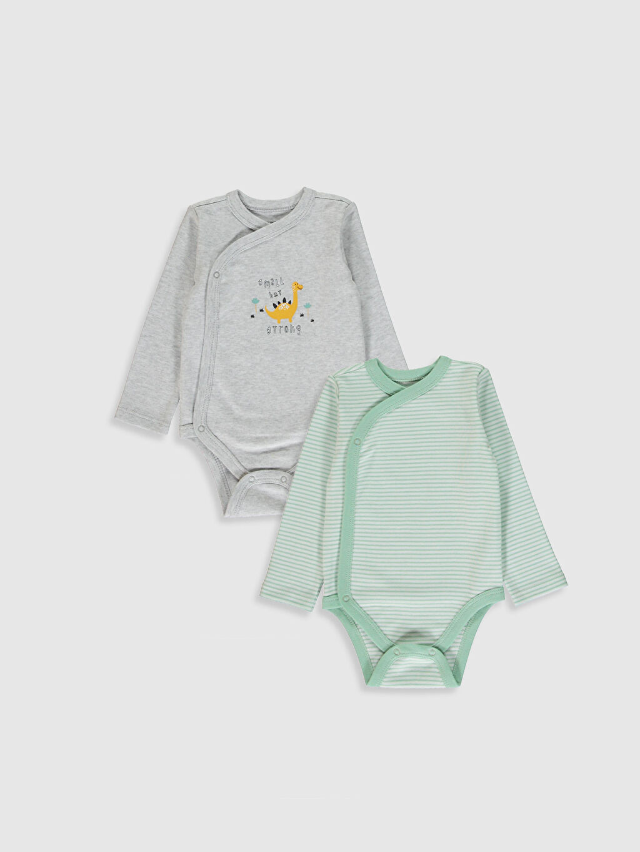 Ekru Erkek Bebek Çıtçıtlı Body 2'Li 0W2311Z1 LC Waikiki