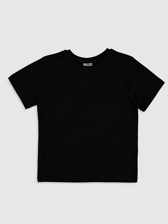 Siyah Erkek Çocuk Pamuklu Basic Tişört 0W2360Z4 LC Waikiki
