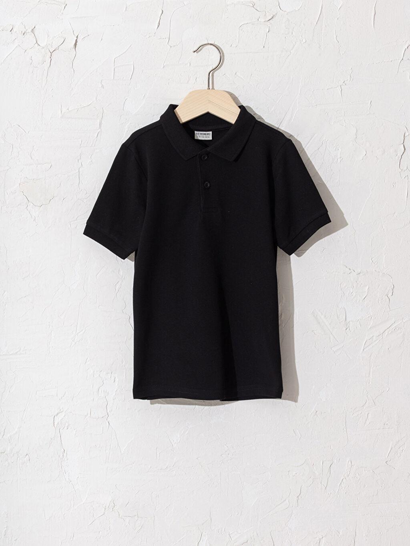 Siyah Erkek Çocuk Polo Yaka Pamuklu Basic Tişört 0W2362Z4 LC Waikiki
