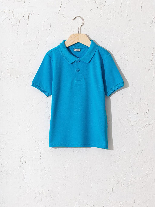 Turkuaz Erkek Çocuk Polo Yaka Pamuklu Basic Tişört 0W2362Z4 LC Waikiki