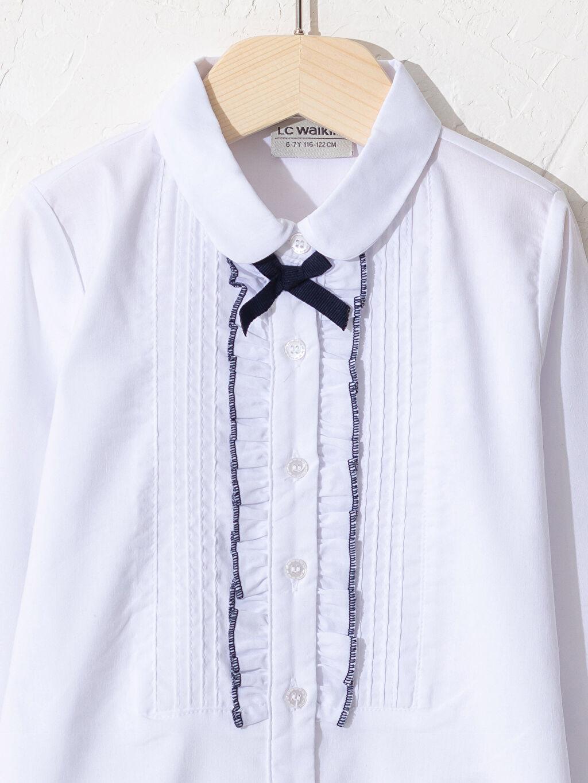 Kız Çocuk Kız Çocuk Fırfır Detaylı Poplin Gömlek