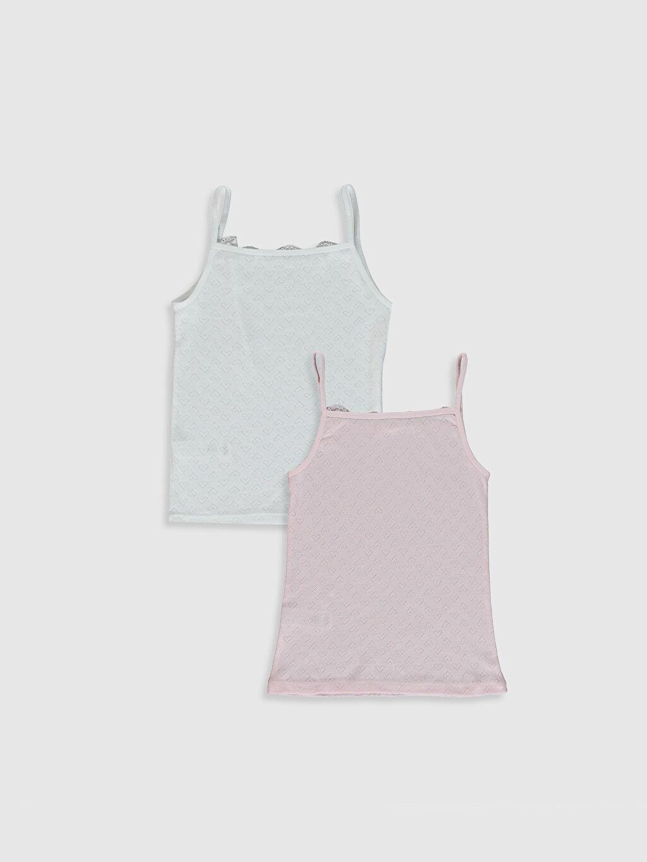 %100 Pamuk Askılı İç Giyim Atlet Standart U Yaka Kız Çocuk Pamuklu Atlet 2'Li